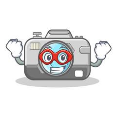 Super hero photo camera character cartoon