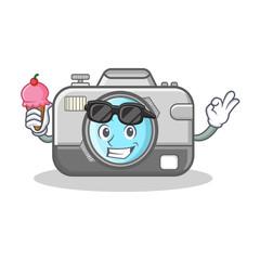 With ice cream photo camera character cartoon