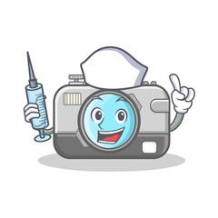 Nurse photo camera character cartoon