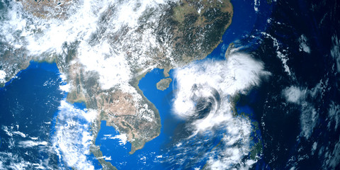 Extremely detailed and realistic high resolution 3D illustration of a tropical storm approaching China and Hong Kong. Shot from Space. Elements of this image are furnished by Nasa.