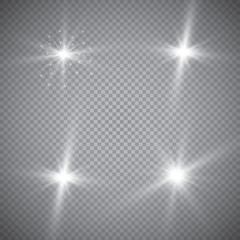 Set of glowing light effects with transparency isolated on plaid vector background. Lens flares, rays, stars and sparkles with bokeh collection.