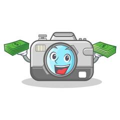 With money photo camera character cartoon