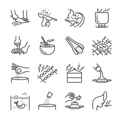 Cooking line icon set. Included the icons as slice, boil, steam, stir, fried, grill and more.