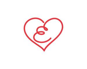 Letter E and heart logo 1