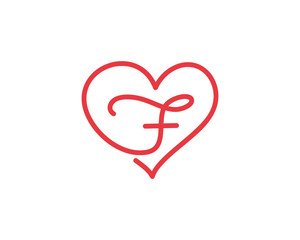Letter F and heart logo 1