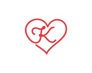 Letter K and heart logo 1