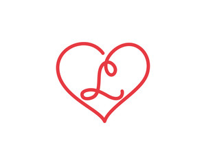 Letter L and heart logo 1