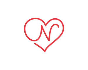 Letter N and heart logo 1