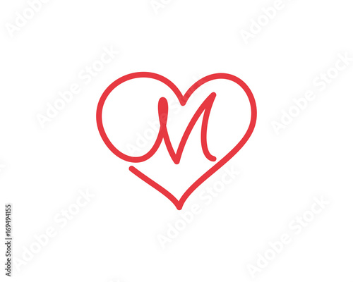 Letter M And Heart Logo 1