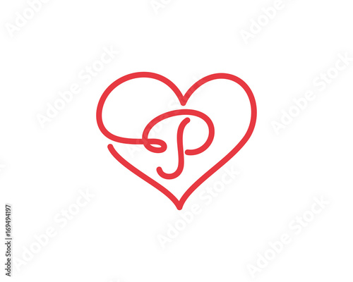 Letter P And Heart Logo 1