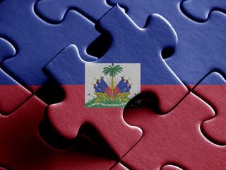 Haiti FLAG PAINTED ON PUZZLE