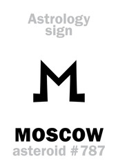 Astrology Alphabet: MOSCOW, asteroid #787. Hieroglyphics character sign (single symbol).