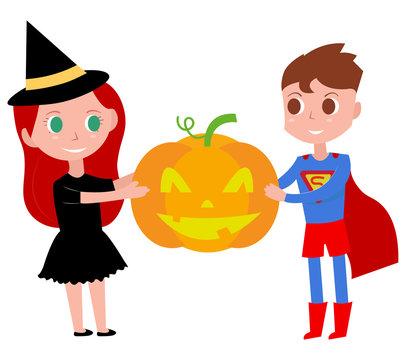 Children in Costumes Celebrating Halloween