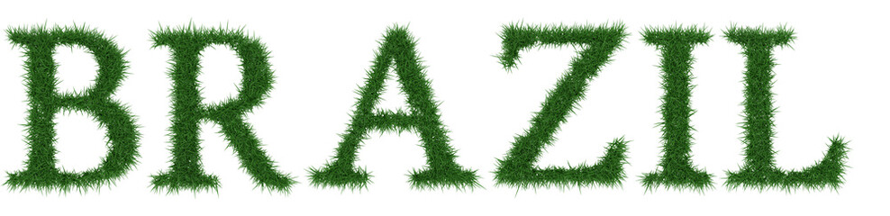 Brazil - 3D rendering fresh Grass letters isolated on whhite background.