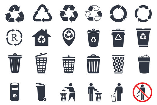 trash can icons and recycle icons set