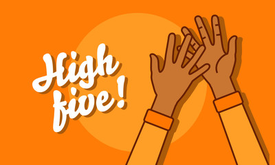 High Five Illustration with Two Hands Clapping