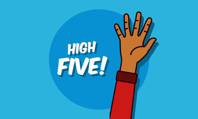 High Five Illustration with One Hand up