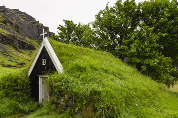 Church roof covered with grass in Iceland