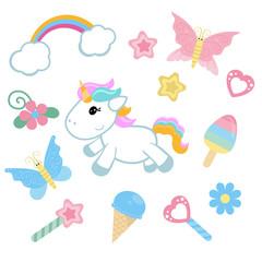 Unicorn with magic design elements