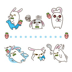 vector illustration of rabbit on white background.
