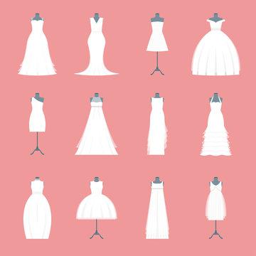 Wedding Dresses Set on Mannequin. Vector