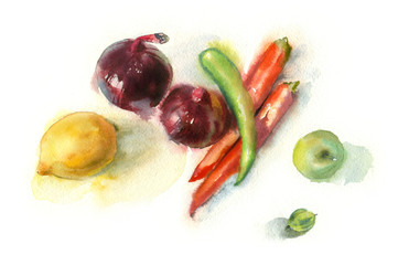 Watercolor painting. Still life with vegetables on a white background.