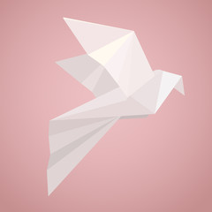 White origami pigeon. Paper Zoo. Vector element for your creativity