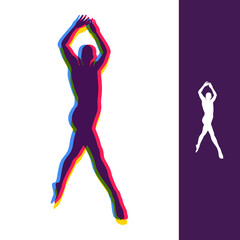 Silhouette of a Dancer. Gymnast. Man is Posing and Dancing. Sport Symbol. Ballerina standing on tiptoe. Design Element. Vector Illustration.