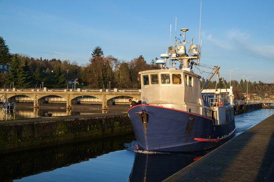 Fishing boat in Ballard Locks
