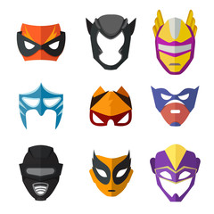 Different superheroes masks for kids. Vector illustrations in flat style