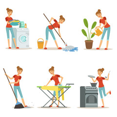 Housewife make different domestic works. Mother occupation. Vector cartoon characters set
