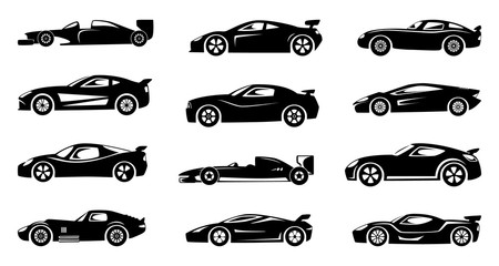 Black silhouette of race cars. Sports symbols isolated