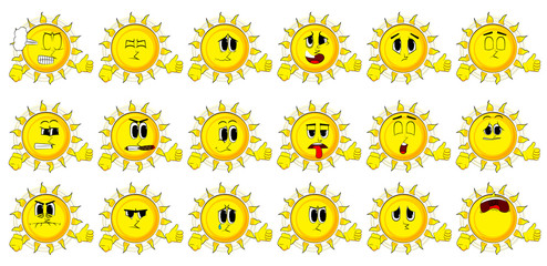 Cartoon sun making thumbs up sign. Collection with sad faces. Expressions vector set.