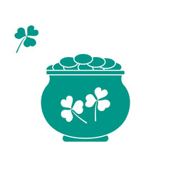 Cute vector illustration with pot with gold coins for St. Patrick's Day.