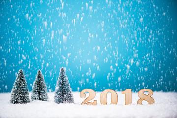 Photo sur Plexiglas Christmas tree and 2018 New Year background