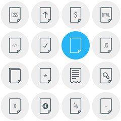 Vector Illustration Of 16 File Icons. Editable Pack Of Folder, Copy, Done And Other Elements.