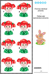 Visual puzzle: Find two identical pictures of girls with red hair and green eyes. Answer included.