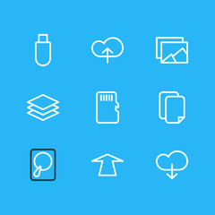 Vector Illustration Of 9 Memory Icons. Editable Pack Of Hdd, Documents, Layer And Other Elements.