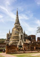 Old pagoda with blue sky in Ayutthaya Historical Park, Ayutthaya, Thailand