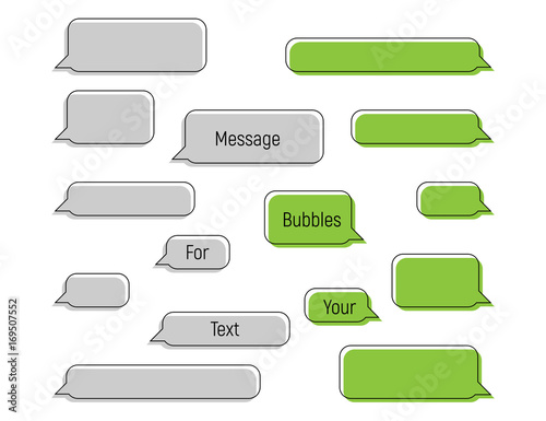 Message bubbles in trendy flat style, Message Bubbles for