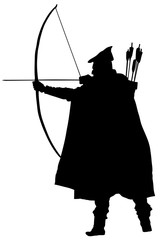 Archer vector silhouette illustration isolated on white background. Robin Hood vector. Traditional hunter in hunting.