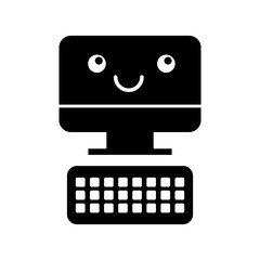 computer desktop with keyboard kawaii character vector illustration design