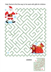 Maze game or activity page for kids: Help Santa to find the way to his sack with gifts for children. Answer included.