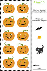 Halloween visual puzzle or picture riddle: Find two identical images of pumpkins. Answer included.