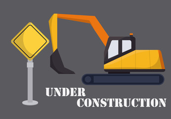 backhoe and warning sign icon over gray background colorful design vector illustration