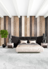 White bedroom minimal style Interior design with wood wall and dark sofa. 3D Rendering. 3D illustration