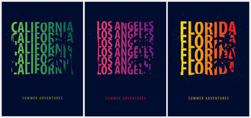 Set of Summer graphics with palms. T-shirt design and print.