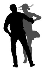 Elegant latino dancers couple vector silhouette illustration isolated on white background. Mature tango dancing people in ballroom night event.