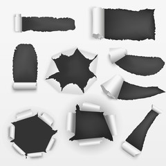 Realistic Detailed Torn Holes Paper on a Background Set. Vector