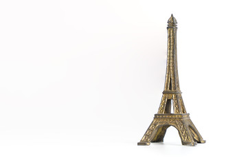 Metal eiffel tower souvenir Paris toy isolated on white Wall mural